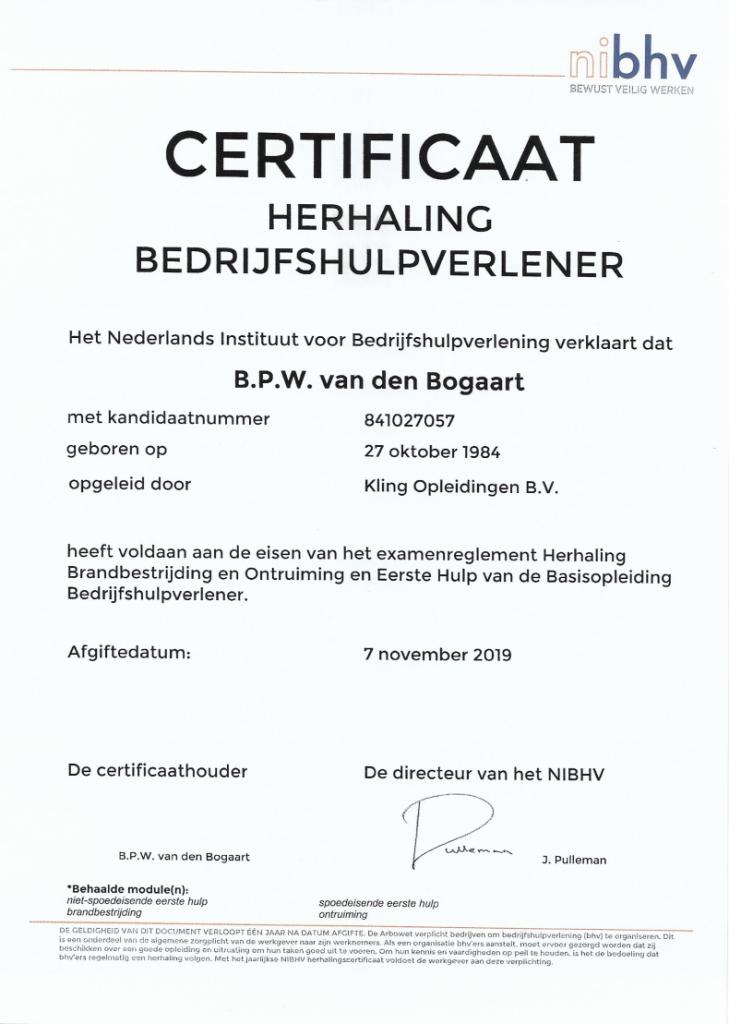 Bedrijfhulpverlener certificaat