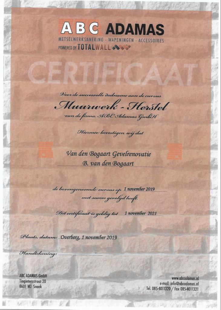 ABC adamas certificaat